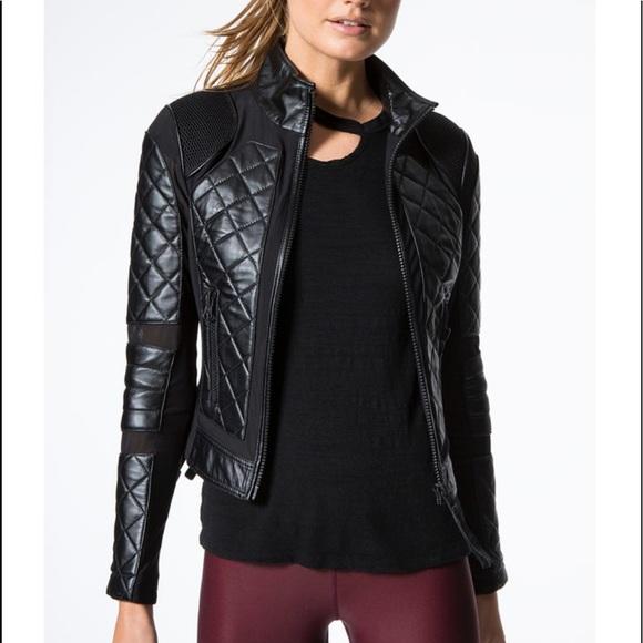 bda29b267d02 NWT Blanc Noir Leather and Mesh Moto in Black